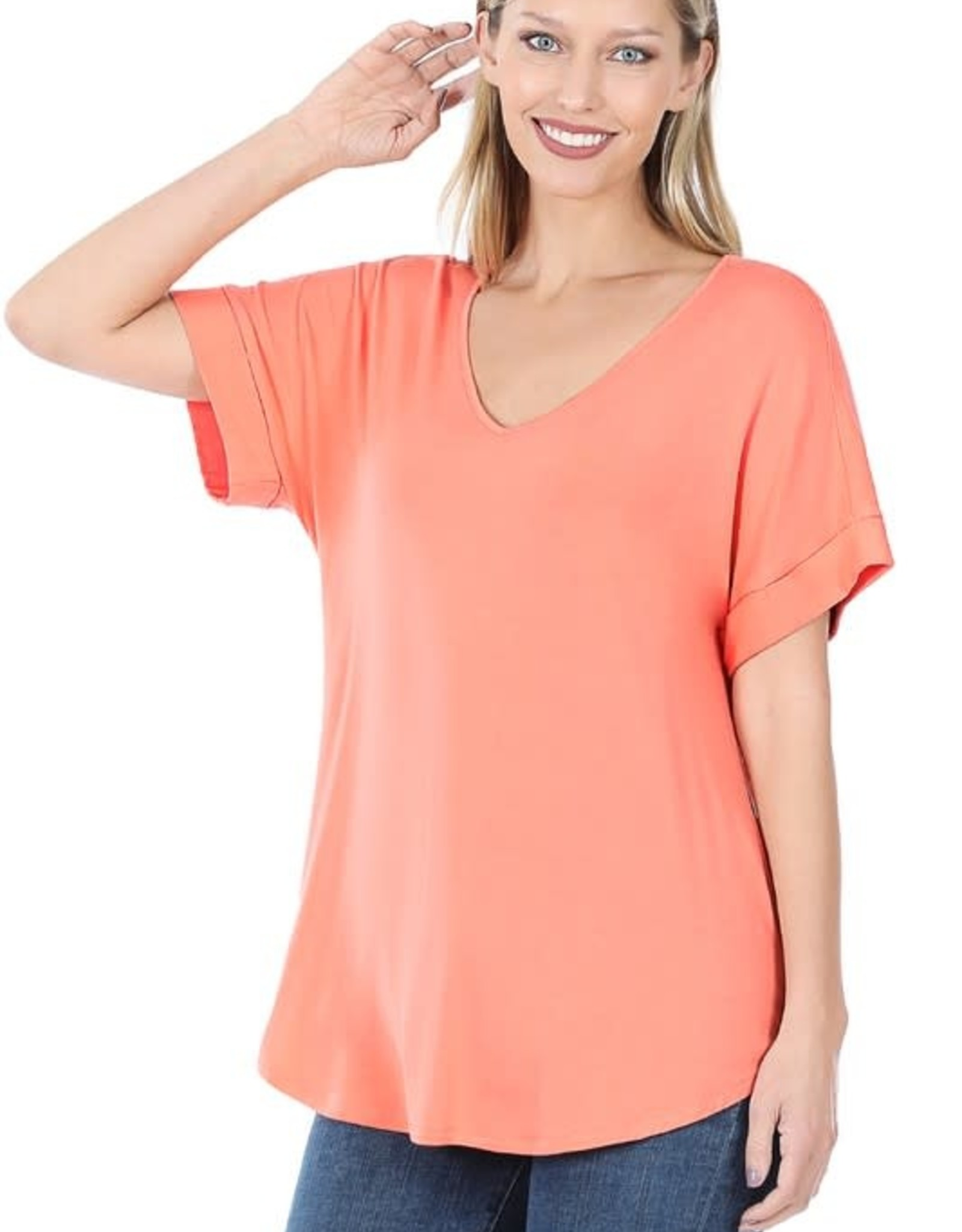 - Coral Cuff Sleeve V Neck Short Sleeve Top