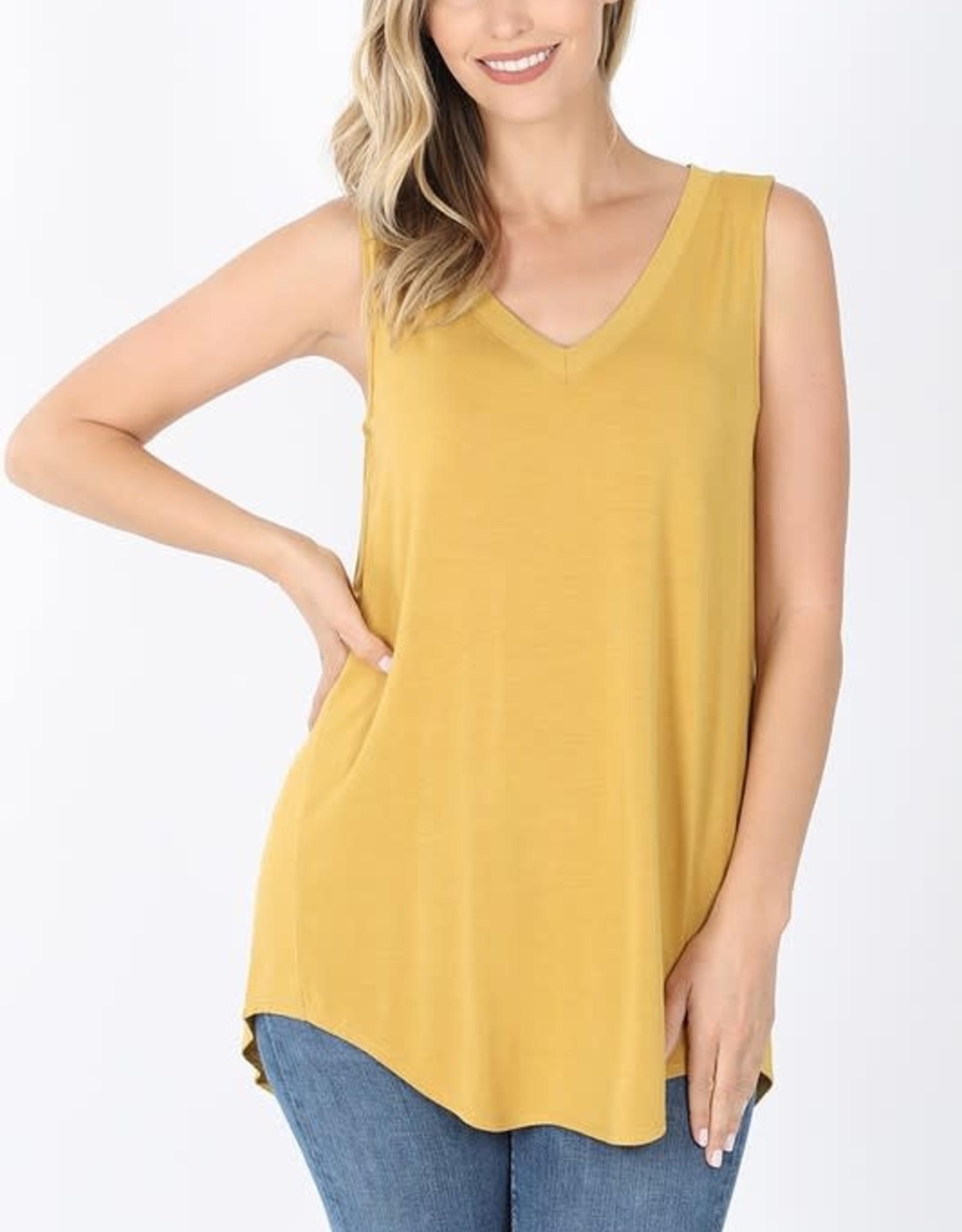 - Mustard V Neck High/Low Hem Tank