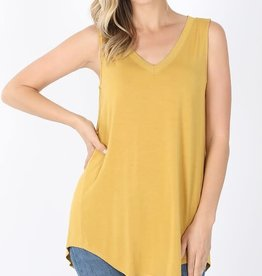 - Mustard V Neck High/Low Hem Tank