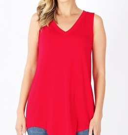 - Red V Neck High/Low Hem Tank