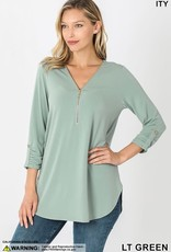 - Light Green Zipper Neckline 3/4 Sleeve Top