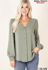 - Light Olive Chiffon Button Front Top