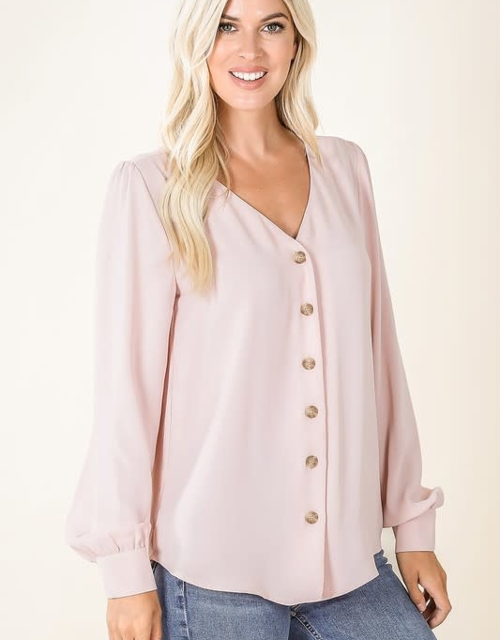 - Light Pink Chiffon Button Front Top