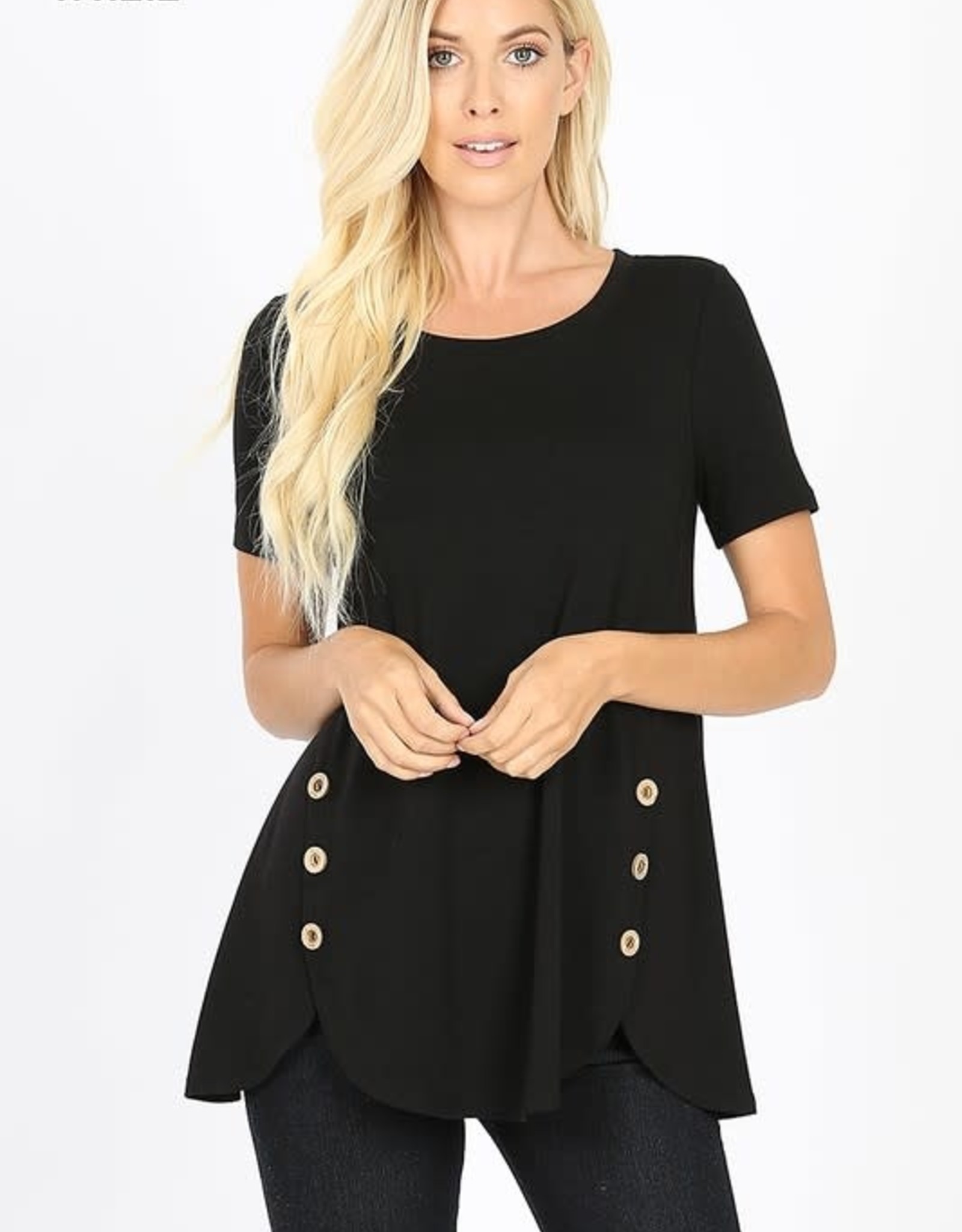 - Black Button Sides Short Sleeve Top