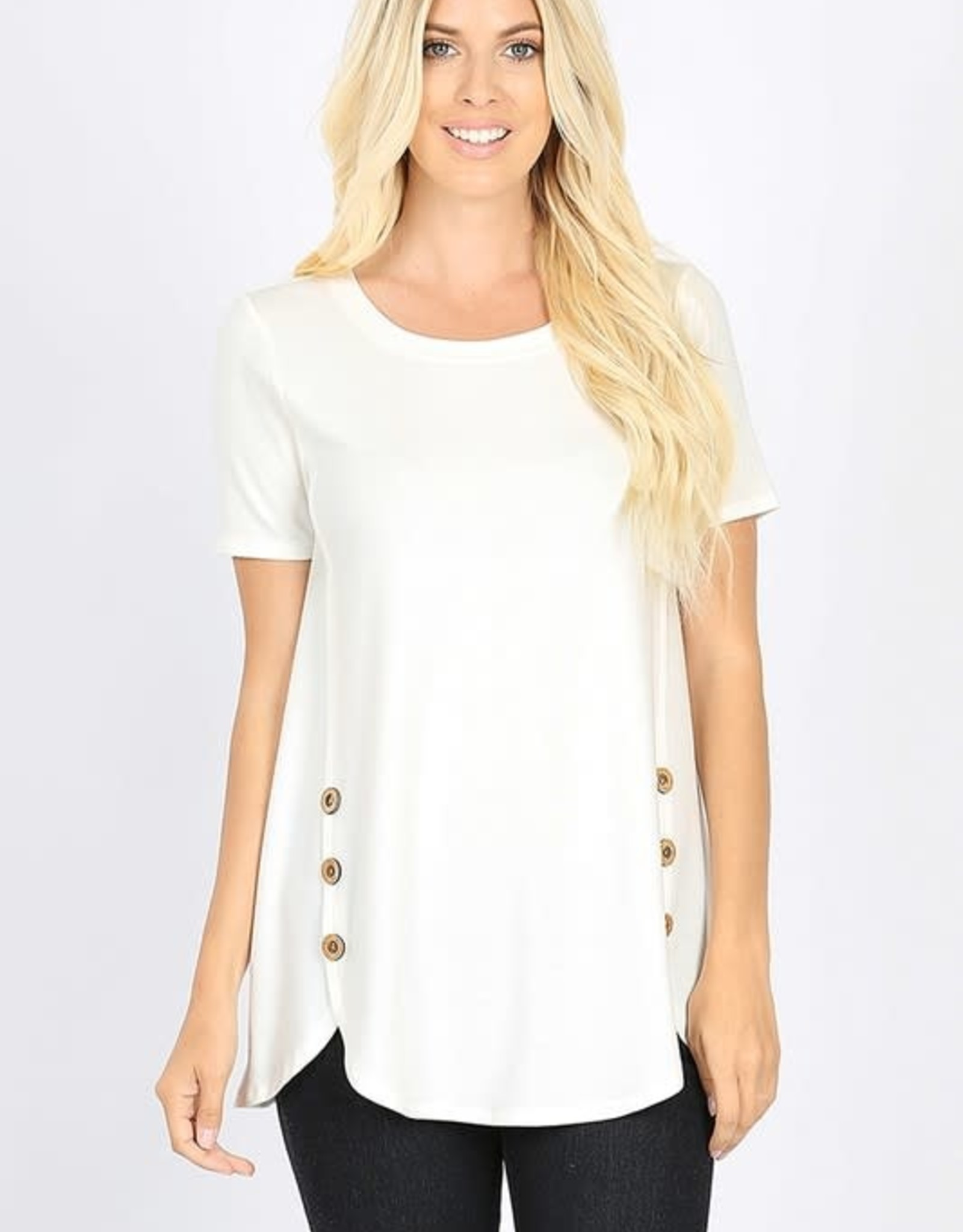 - Ivory Button Sides Short Sleeve Top