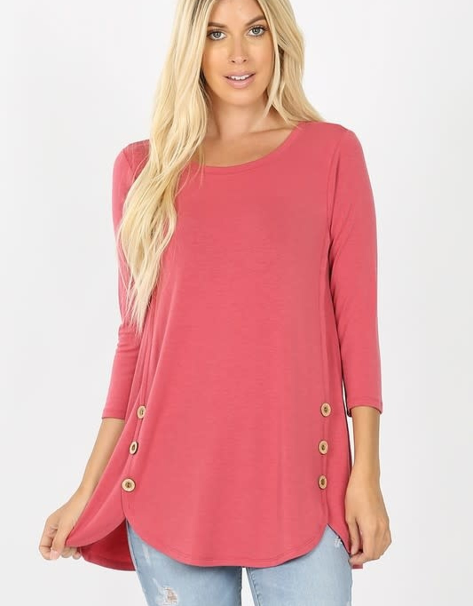 - Rose Button Sides 3/4 Sleeve Top