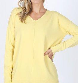 - Yellow V Neck Center Seam Sweater