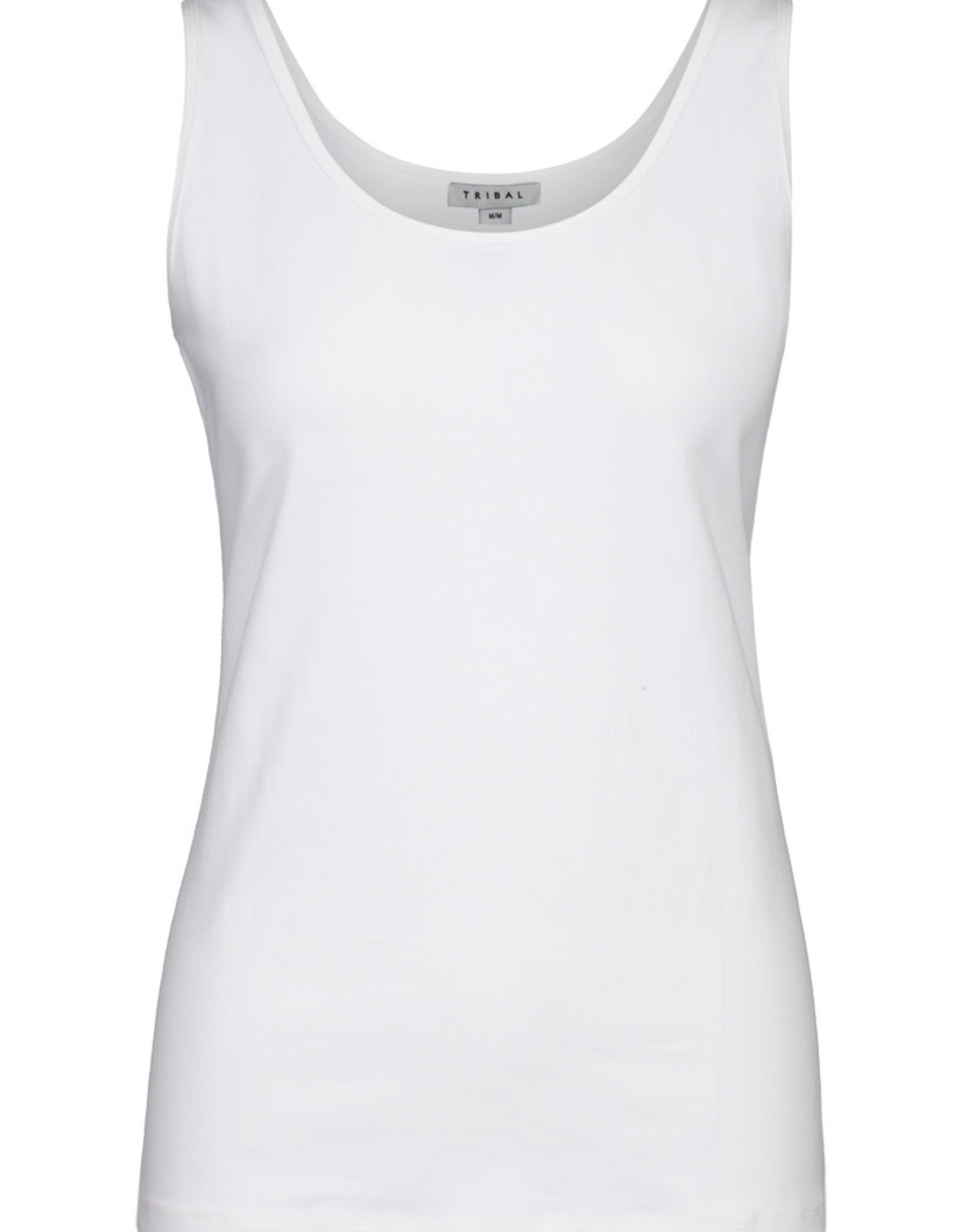 Tribal White Cotton Stretch Tank w/Roundneck