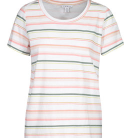 Tribal White/Pink/Green Stripe Roundneck Top
