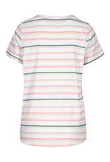 Tribal White/Pink/Green Stripe Roundneck Top