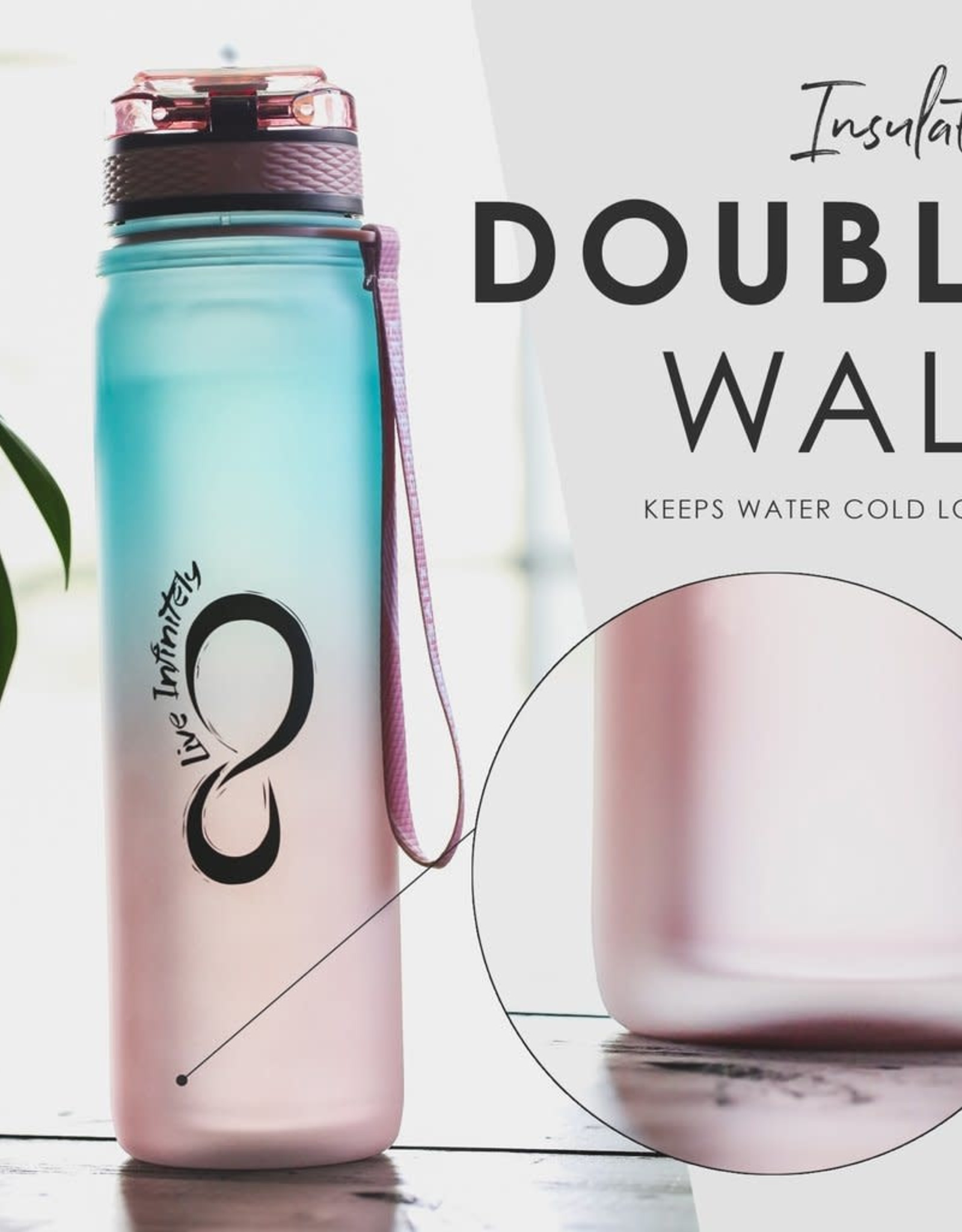 Teal/Rose Gold Insulated 24oz Water Bottle