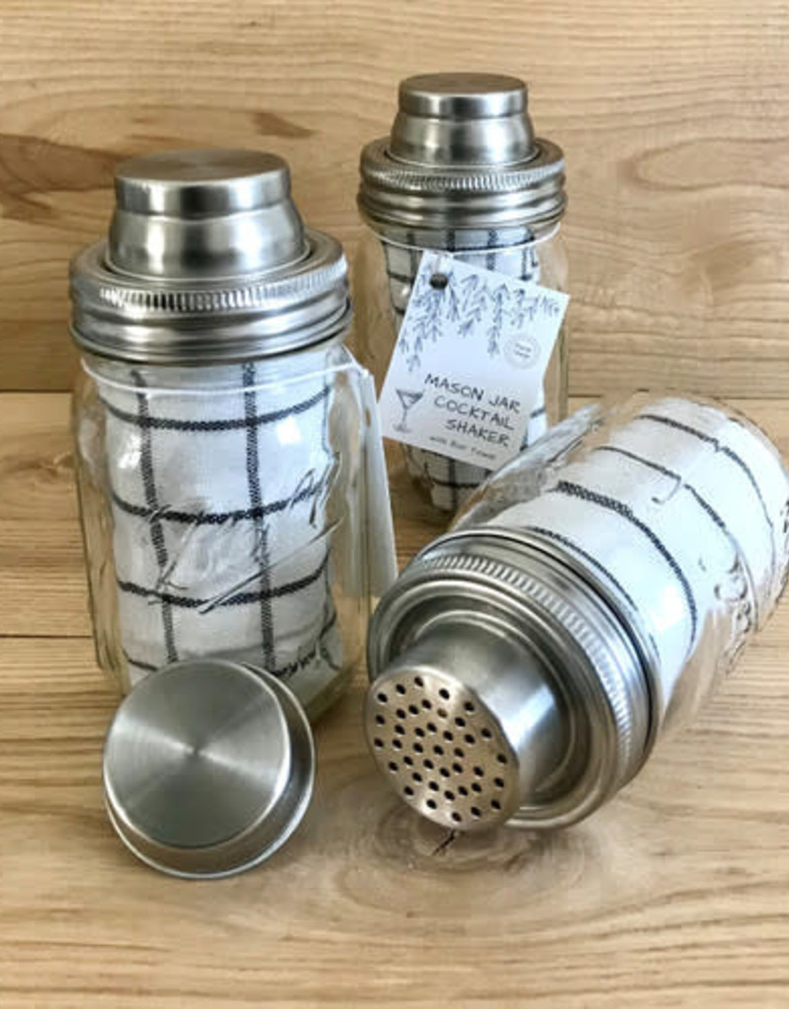 Mason Jar Cocktail Shaker Set w/Bar Towel