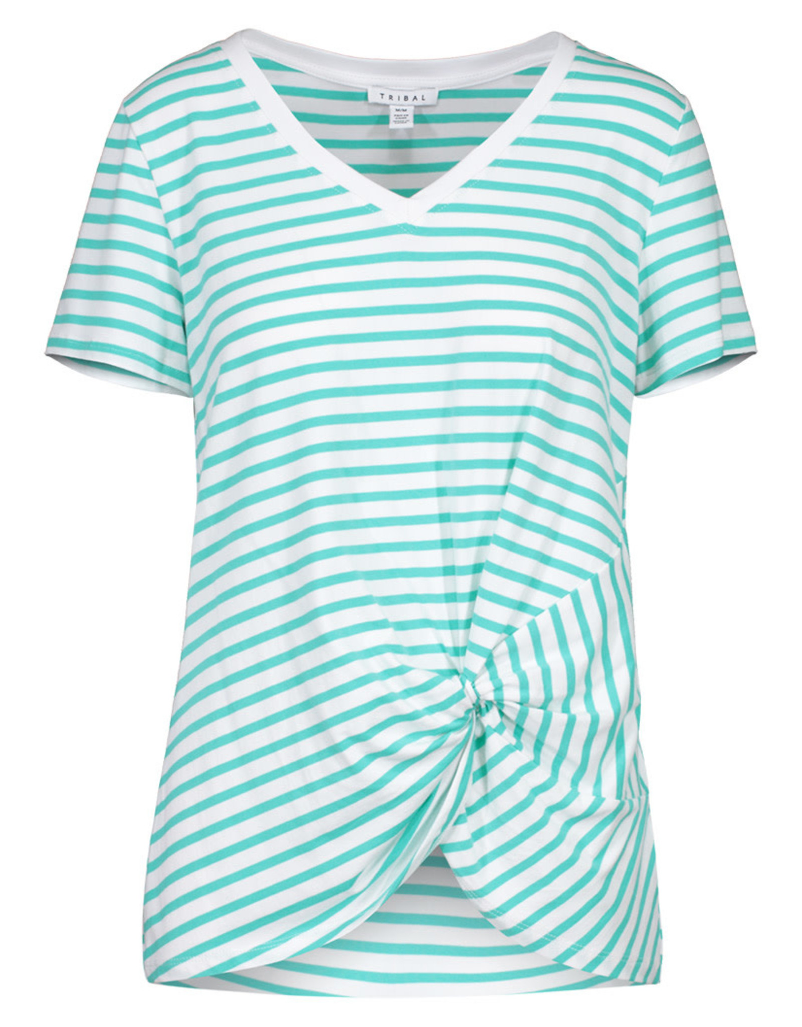 Tribal Turquoise Twist Front Striped V Neck Top