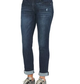 Democracy Indigo Girlfriend Fit Capri w/Destruct