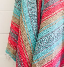 - Teal/Red Stripe Throw Blanket