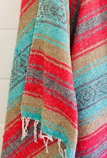 - Teal/Red Stripe Throw Blanket