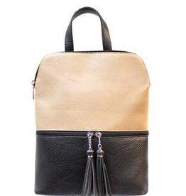 Black/Taupe Backpack w/Fringe Zippers