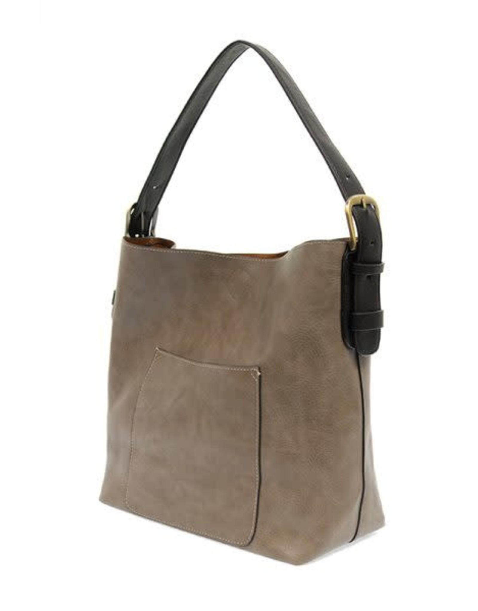 - Mushroom Hobo Handbag w/Black Handle