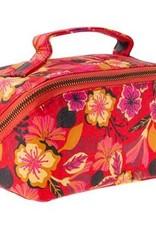 - Red Floral Diagonal Zip Cosmetic Bag