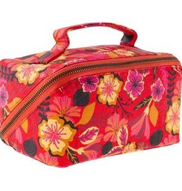 - Red Floral Diagonal Zip Cosmetic Bag