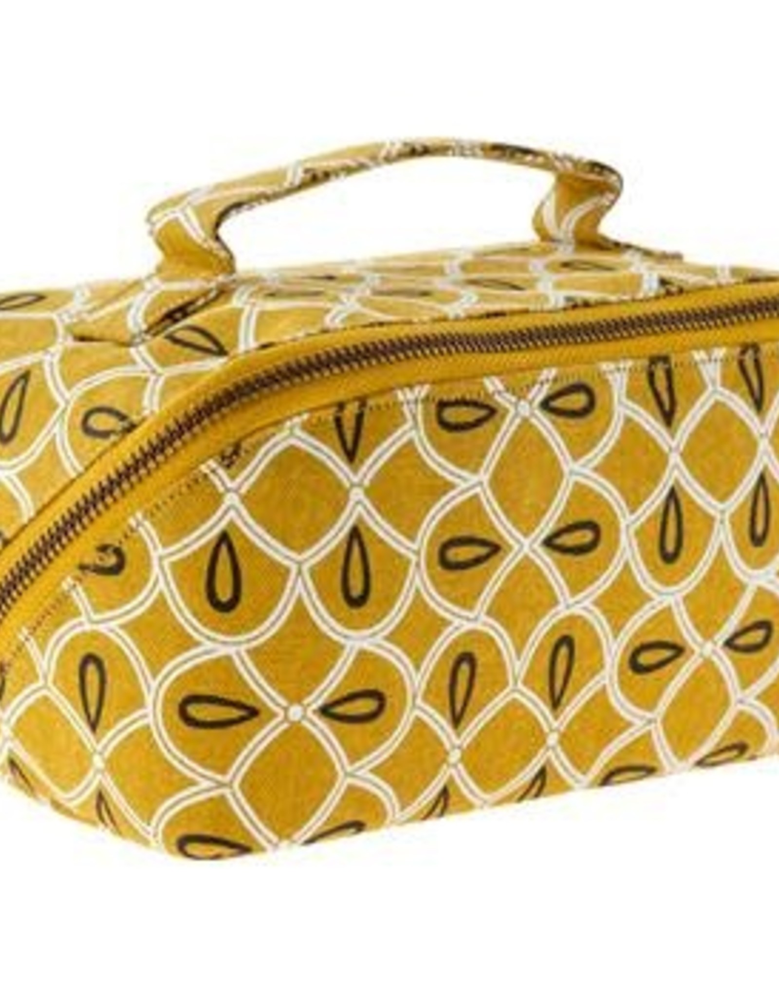 - Mustard Print Diagonal Zip Cosmetic Bag