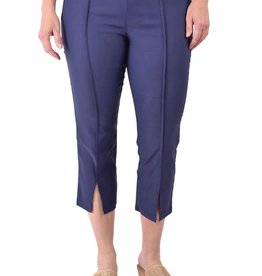 Ethyl Navy Pull-On Capri w/Vent at Bottom