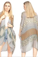 - Sage Tone Multi Print Bohemian Kimono