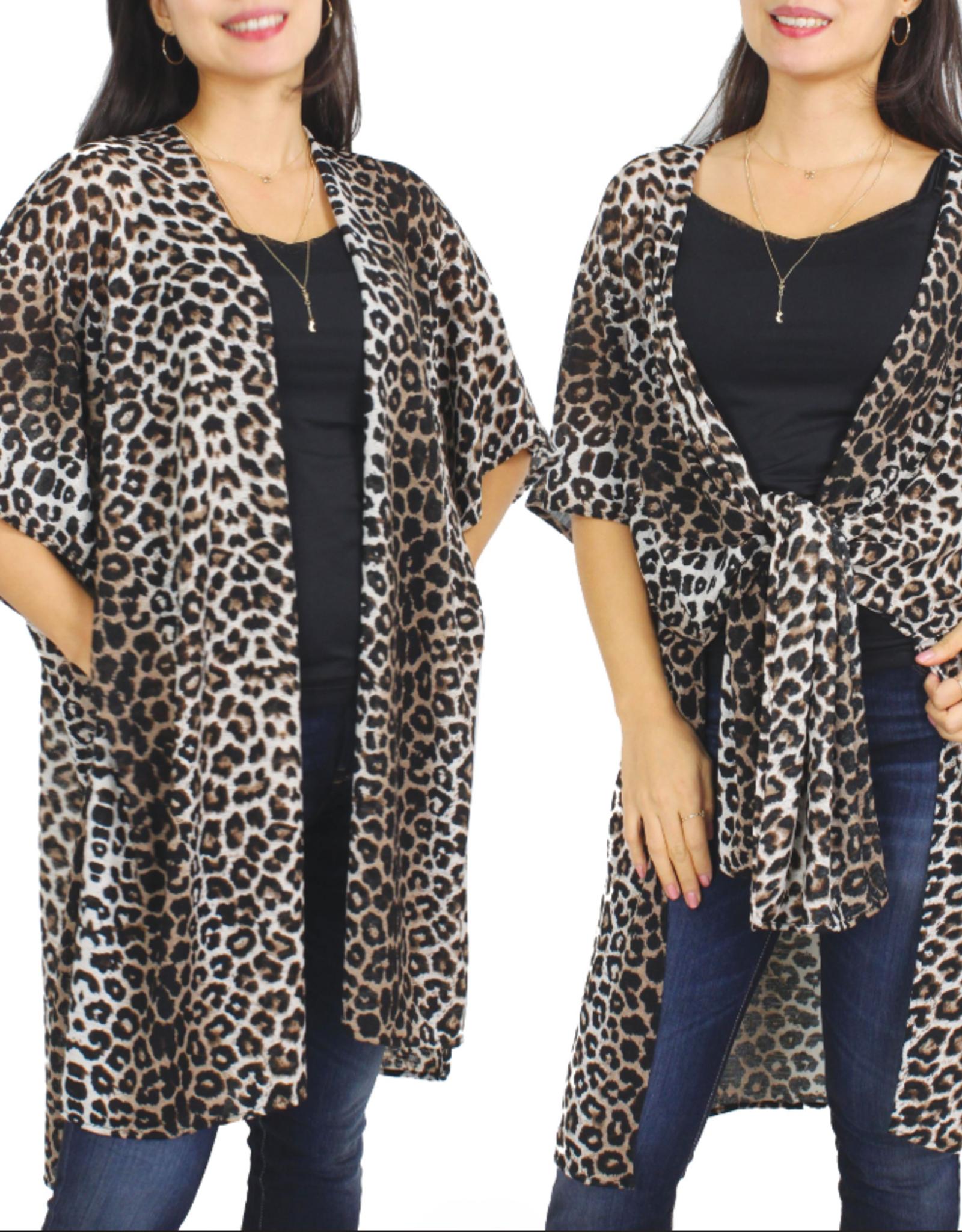- Beige Leopard Print Stretch Kimono