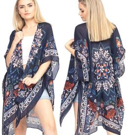 - Navy and Beige Bohemian Print Kimono