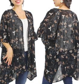 - Black Flower Print Chiffon Ruffle Kimono