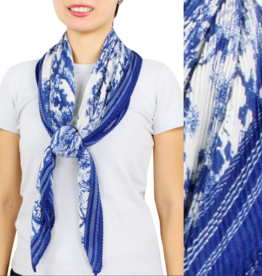 - Navy Toile Print Pleated Scarf