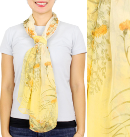 - Yellow Flower Print Chiffon Scarf