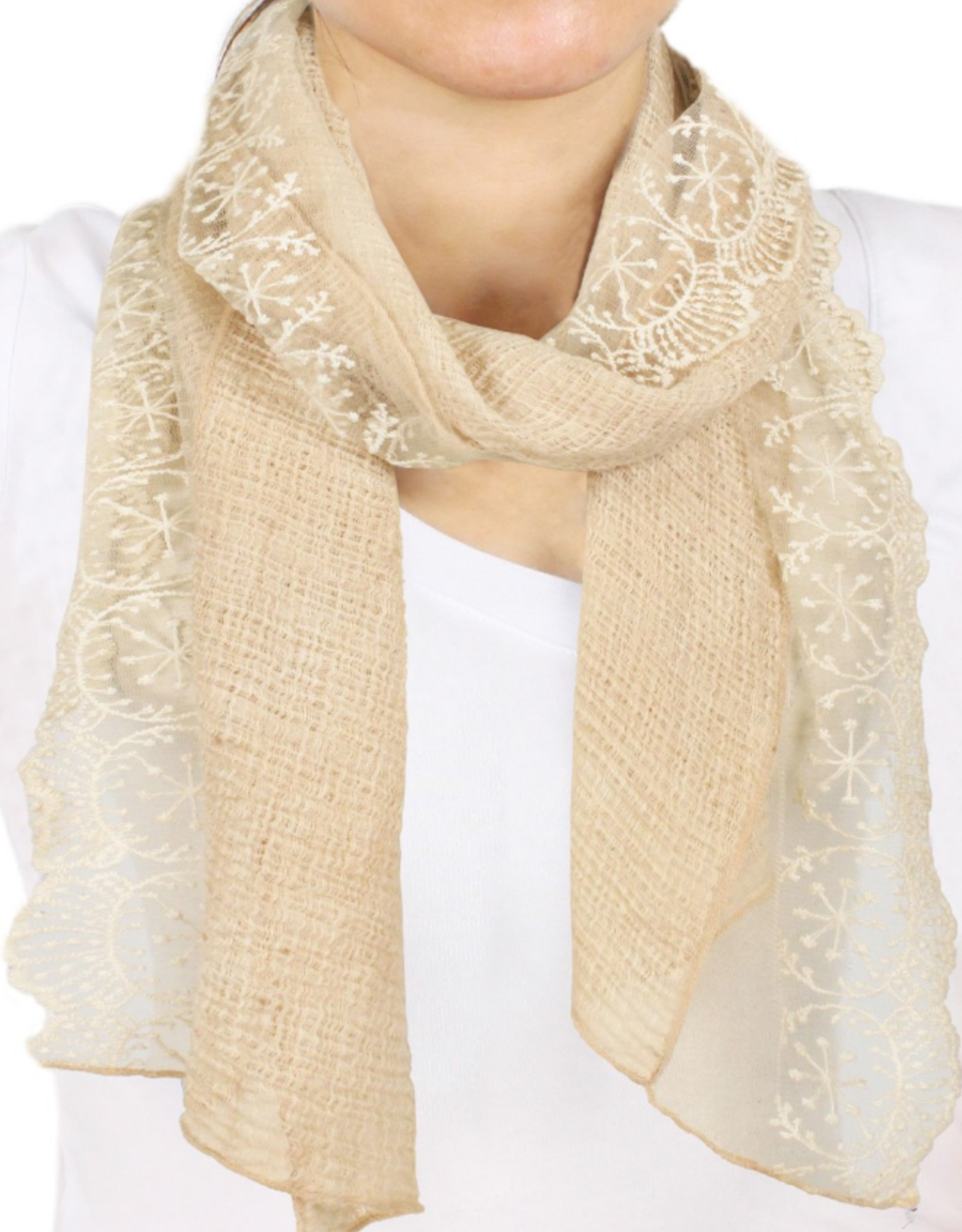 - Beige Lace Hand Dyed Scarf