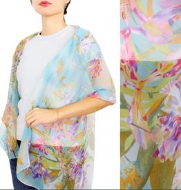 - Blue Flower Print Chiffon Scarf