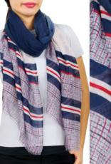- Navy Stripe & Check Print Scarf