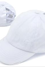 - C.C. Criss Cross White Baseball Cap w/Epoxy Button for Masks