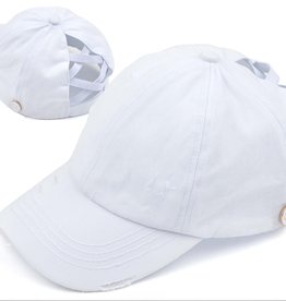 - C.C. Criss Cross White Baseball Cap w/Epoxy Button for Masks