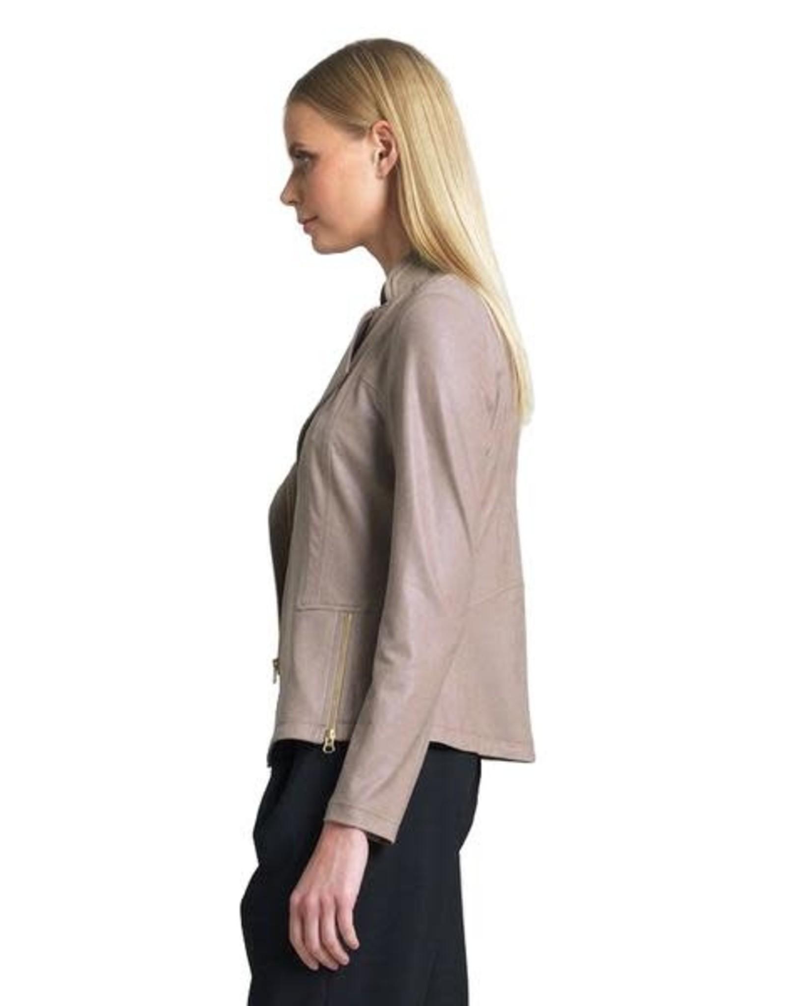 - Taupe Liquid Leather Jacket