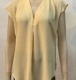 - Soft Yellow Cape Sleeve Top