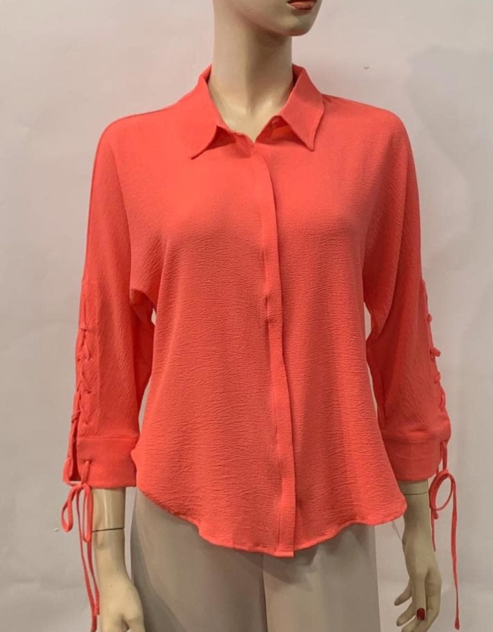 - Coral Button Down Top w/Tie Detail on Wrist