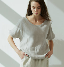 - Haze Gauze Roundneck Short Sleeve Top