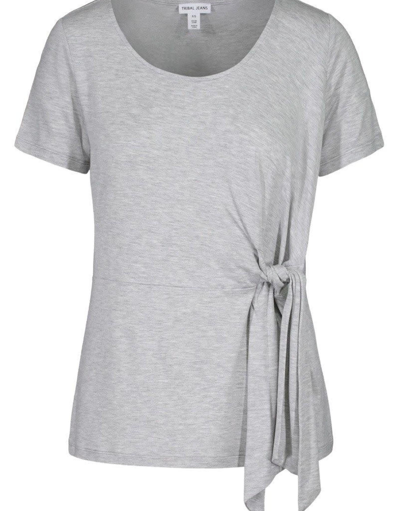 Tribal Light Grey Short Sleeve Top w/Side Tie