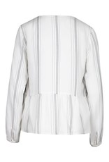 Tribal White/Black Stripe Embroidered Long Sleeve Top