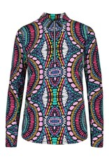Tribal Multi Colored Print 3/4 Zip-up Top