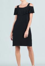 - Black Ruffle Open Shoulder Dress