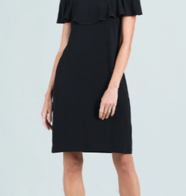 - Black Ruffle Open Shoulder Dress