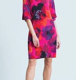- Pink Poppy Print Dress w/Back Tie-Detail & Tulip Cuff