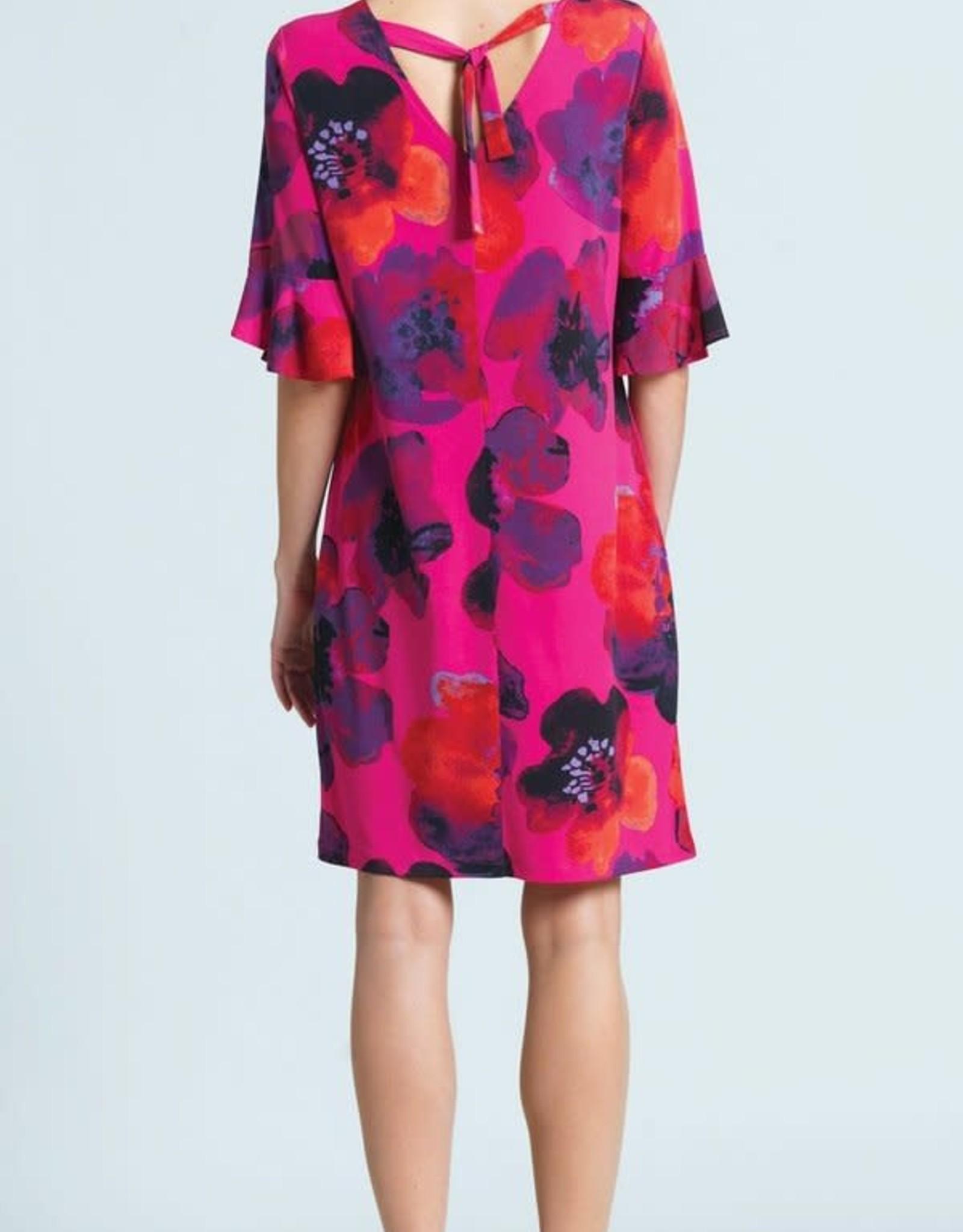 - Pink Poppy Print Dress w/Back Tie-Detail & Tulip Cuff