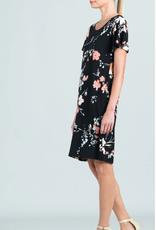 - Floral Print Scoop Neck Dress w/Soft Drape Sleeve