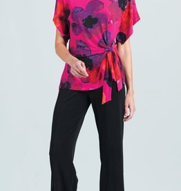- Pink Poppy Print Top w/Side Knot Detail